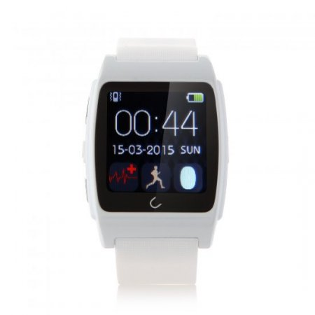 U Watch UX Bluetooth Watch Heart Rate Monitor for iOS And Android Smartphones White