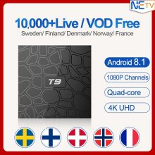 Europe IPTV Sweden Belgium Spain Box T9 Android 8.1 4G 32G RK3328 Quad-Core USB3.0 IP TV Code Poland Netherlands Subscription 1 Year
