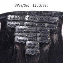 Cube Wig 120G Indian Straight Hair Machine Made Clip In Human Hair Extensions #1B Full Head 8Pcs/Set