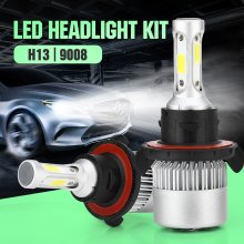 H13 LED Headlight Bulbs,6500K 10000 Lumens Extremely Super Bright 9008 Hi/Lo 30mm Heatsink Base CSP Chips Conversion Kit,Xenon White