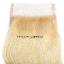 Cube Wig​​​​​​​ Blonde Body Wave Closure Malaysian Human Hair Lace Closure 4x4 Free Part 613# Color Closure