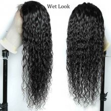 150 Density 100 Natural Raw Indian Virgin Human Hair Water Wave Lace Front Wigs On Sale