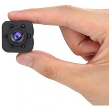 1080P HD Wide Angle 155 Degree IR Night Vision Mini Camera with Magnetic Sheet - Black