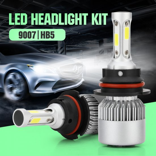 9007 LED Headlight Bulb30mm Heatsink Base CSP Chips 10000 Lumens Hi Lo 6500K Xenon White Extremely Super Bright Conversion Kit Of 2