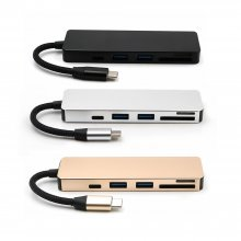 5 in 1 USB Hub Type-C to 4 Port USB3.0+USB2.0+TF/Micro SD+SD Type C PD Adapter Charging USB-C Hub Card Reader For Mac OS Window