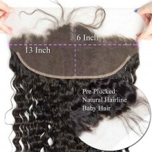 Brazilian Water Wave 13x6 Lace Frontal Closure With Baby Hair Wet And Wavy Remy Human Hair Ear To Ear Frontal