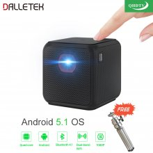 Wireless Mini Projector Android 5.2 Wifi & Bluetooth 4.1 With One Year The Best Arabic QHDTV 1080P Channels.
