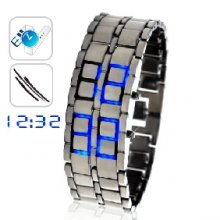 Blue Ice - Heavy Metal LED Watch with Icy Blue LEDs