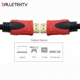 High Quality High Speed HDMI Cable Gold Plated Connection with Red, black and white mesh 1080P 1.5M