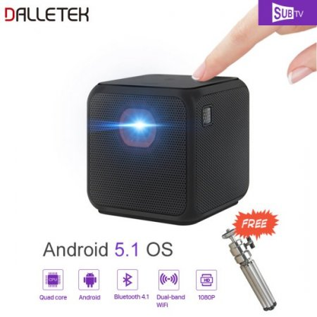 Wireless Mini Projector Android 5.2 Wifi & Bluetooth 4.1 With One Year Global SUBTV IPTV Subscription 1080P Channels.