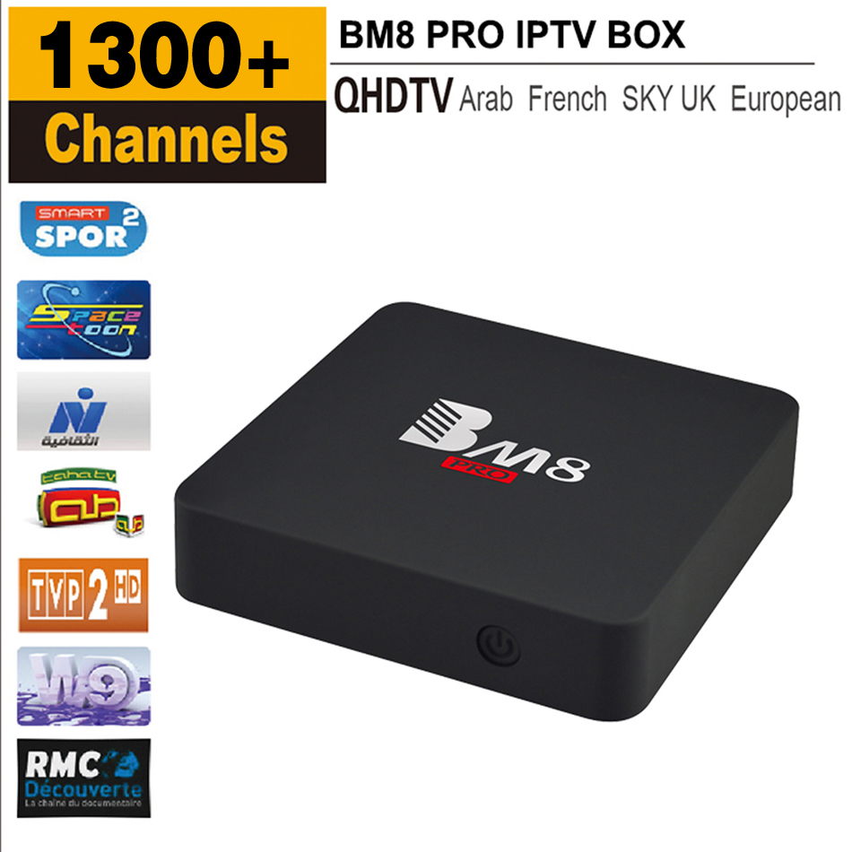 Best 2GB/32GB BM8 PRO Smart Android 6.0 TV Box With QhdtvSubscription 1300+ Arabic French Sky IT/UK/DE Channels Amlogic S912 2.4G/5G Dual WIFI Iptv Set Top Box