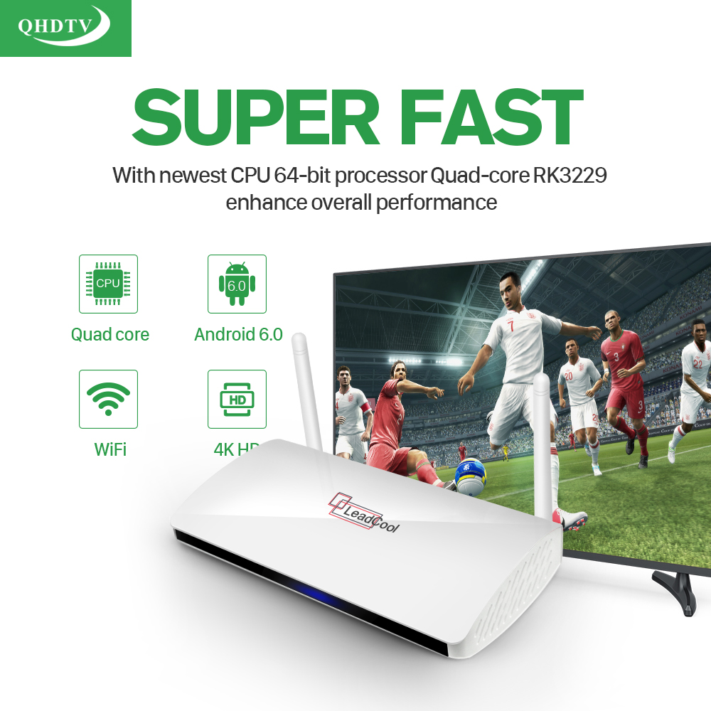 IPTV Streaming Box Leadcool Android Wifi 1G/8G With Qhdtv Subscription 1300+ Italy Portugal French Channels Receiver Europe Arabic IPTV Package Include