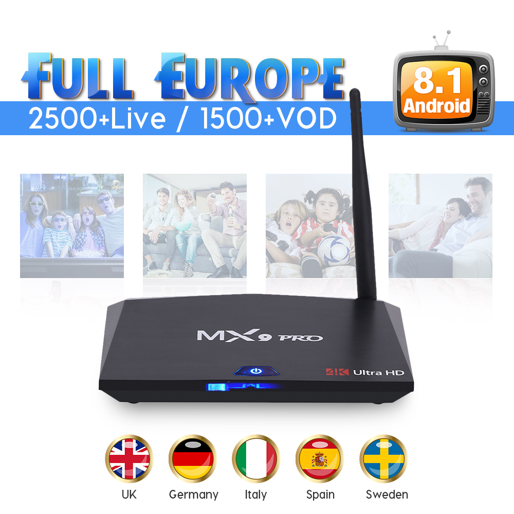 IPTV Europe IUDTV Code Subscription MX9PRO Smart Android 8.1 TV Box Sweden UK Italy Spain IPTV Box