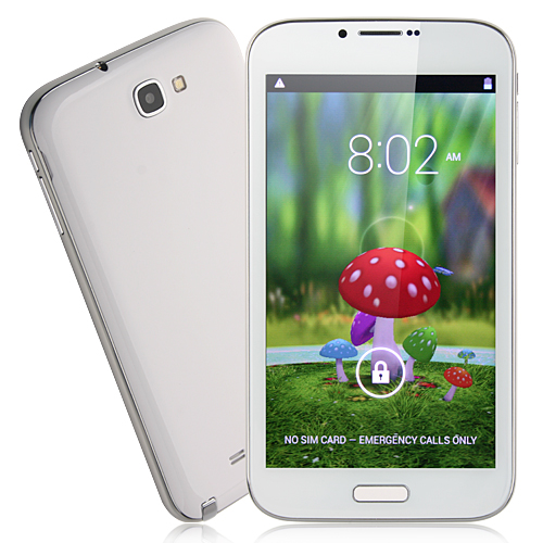 Note3 Smart Phone Android 4.2 MTK6589 Quad Core 1G RAM 6.0 Inch 8.0MP Camera- White