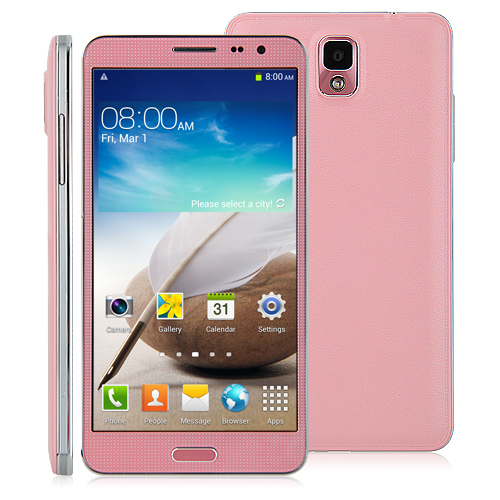 N3 Smartphone MTK6589 Quad Core Android 4.2 1GB 8GB 5.7 Inch IPS HD Screen- Pink