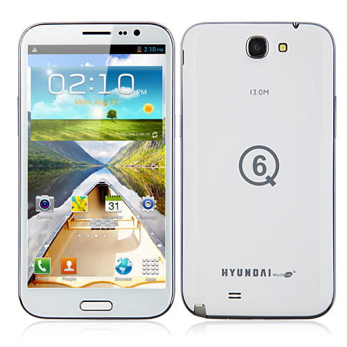 Hyundai Q6 Quad Core Smartphone 6.0 Inch HD Screen MTK6589 Android 4.2 3G GPS OTG 16GB