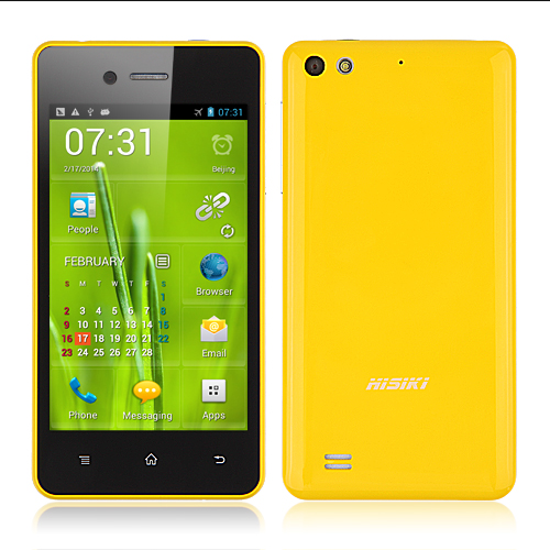 HiSiKi G2 Smartphone 4.0 Inch IPS Screen Android 4.1 MTK6577 Dual Core 3G GPS- Yellow