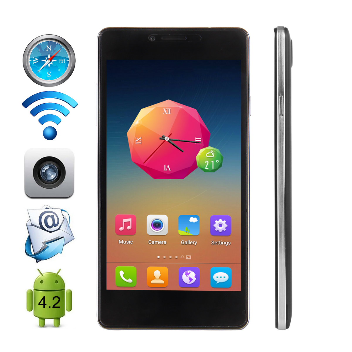 Cubot S208 Slim Smartphone MTK6582 1GB 16GB Android 4.4 5.0 Inch 3G OTG Black
