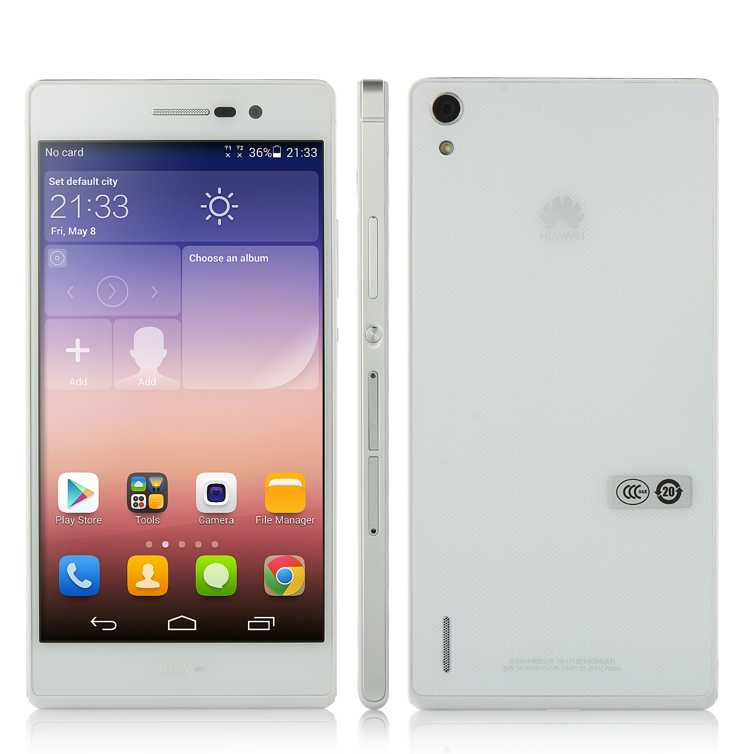 HUAWEI Ascend P7 Smartphone 4G LTE Hisilicon 1.8GHz 5.0 Inch LCD FHD Screen- White