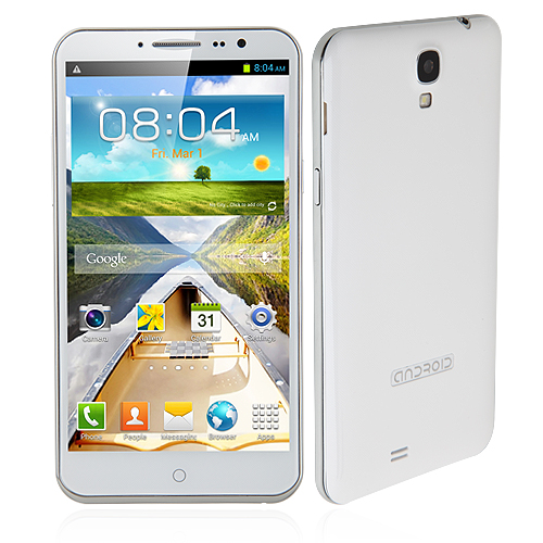 T9700 Smartphone Android 4.2 MTK6589 Quad Core 6.0 Inch 1GB 16GB HD Screen 3G GPS -White