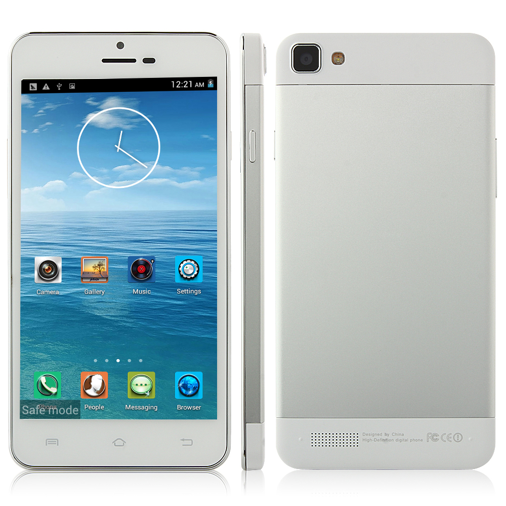 Tengda X3SW Smartphone Android 4.2 MTK6582 Quad Core 5.0 Inch QHD Screen OTG Silver