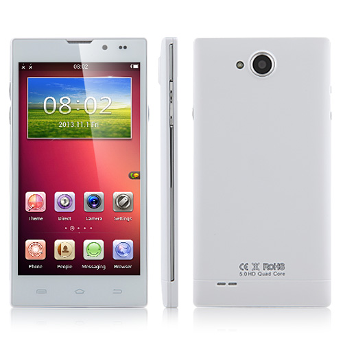 HD5000 Smartphone MTK6582 Quad Core Android 4.2 5.0 Inch 1GB 8GB - White