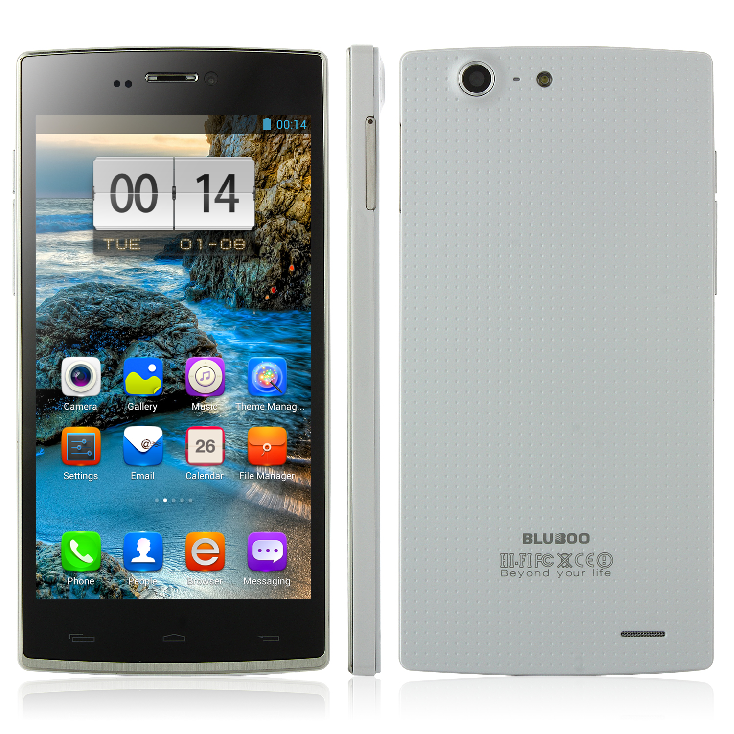 BLUBOO X2 Smartphone MT6592 5.0 Inch IPS OGS Slim 1GB 16GB Android 4.2 OTG - White