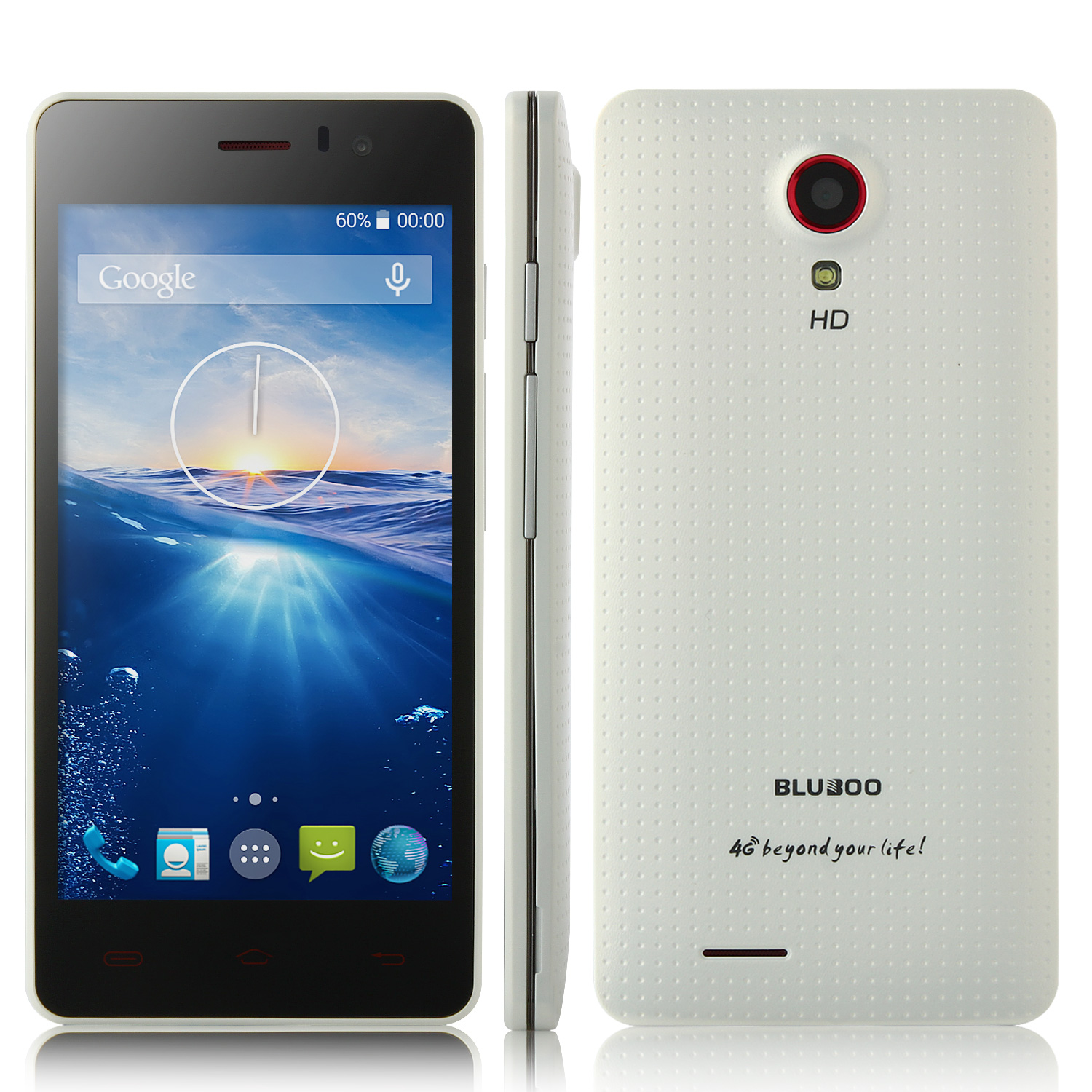 BLUBOO X4 Smartphone 4G LTE Android 4.4 MTK6582 4.5 Inch IPS 1GB 4GB White