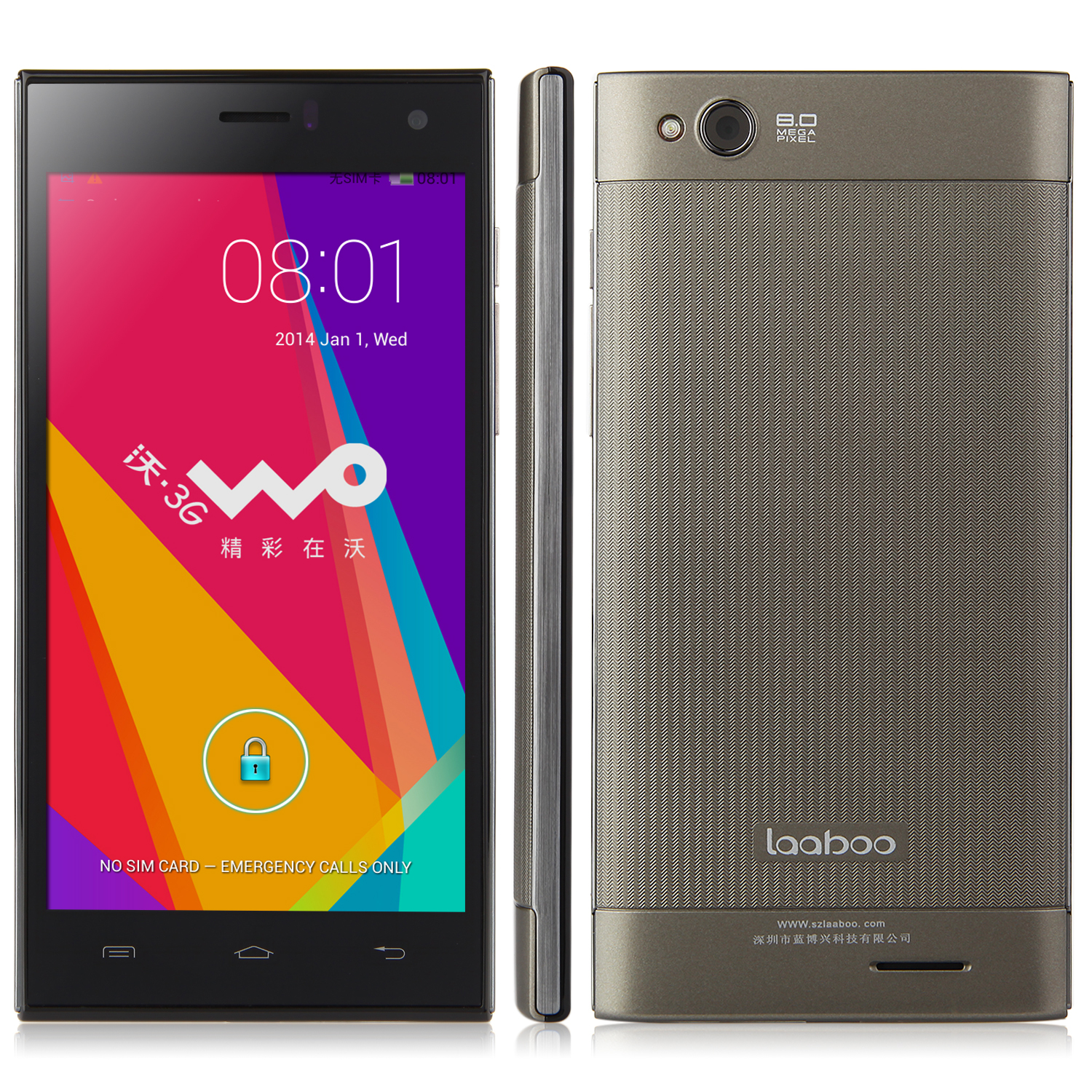 Laaboo W01 Smartphone MTK6582 Quad Core 1.3GHz 1GB 8GB 5.0 Inch IPS Screen 8.0MP Camera