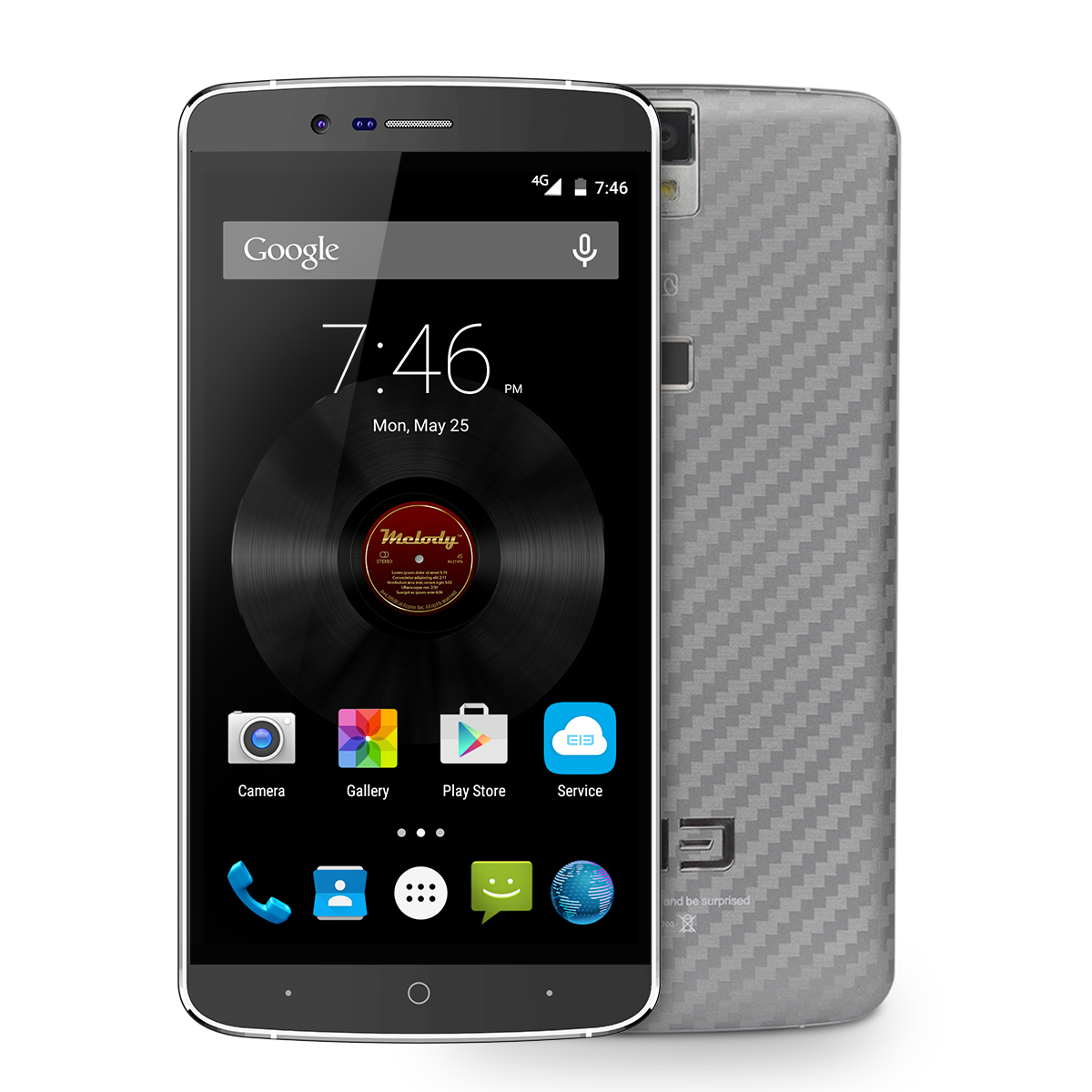 Elephone P8000 Smartphone Touch ID 5.5 Inch 3GB 16GB Octa Core Gray + Case + Protector