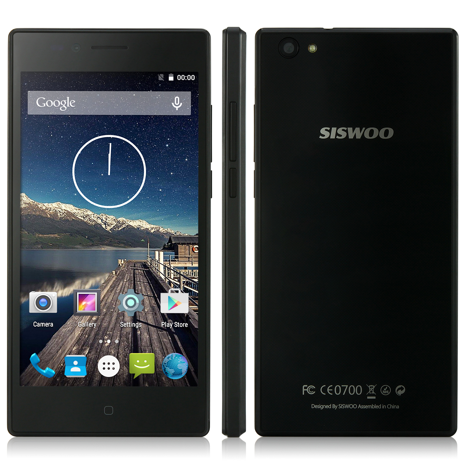 SISWOO Chocolate A4+ Smartphone 4G 64bit Android 5.1 4.5 Inch IPS Screen 1GB 8GB- Black