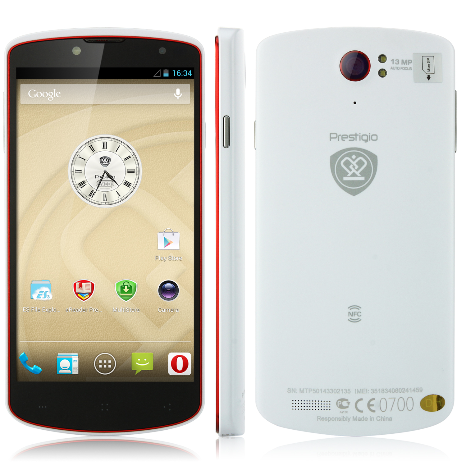 Prestigio MultiPhone 7500 MTK6589T 1.5GHz 5.0 Inch FHD 2GB 32GB NFC 13.0MP White