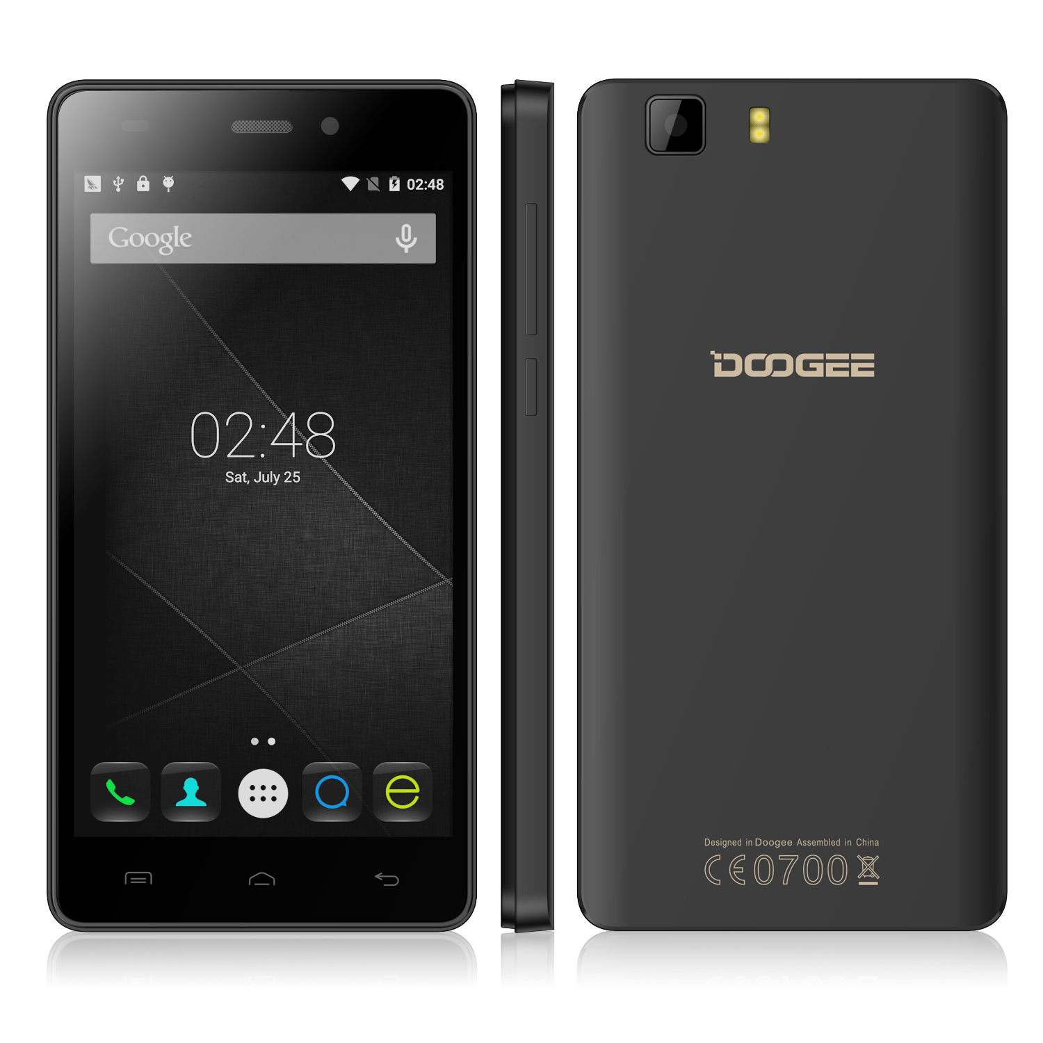 DOOGEE X5 Pro Smartphone 4G 64bit MTK6735 Quad Core 2GB 16GB 5.0 Inch HD Screen Black