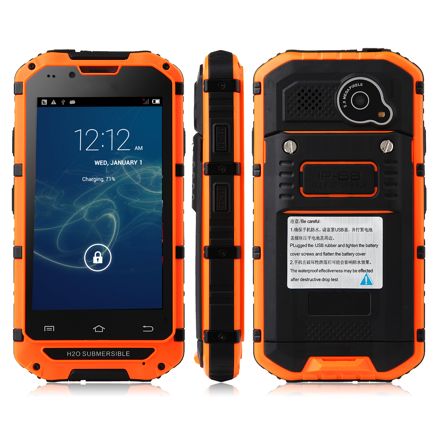 Tengda V6 Smartphone IP68 Android 4.2 MTK6572 4.0 Inch WiFi Orange