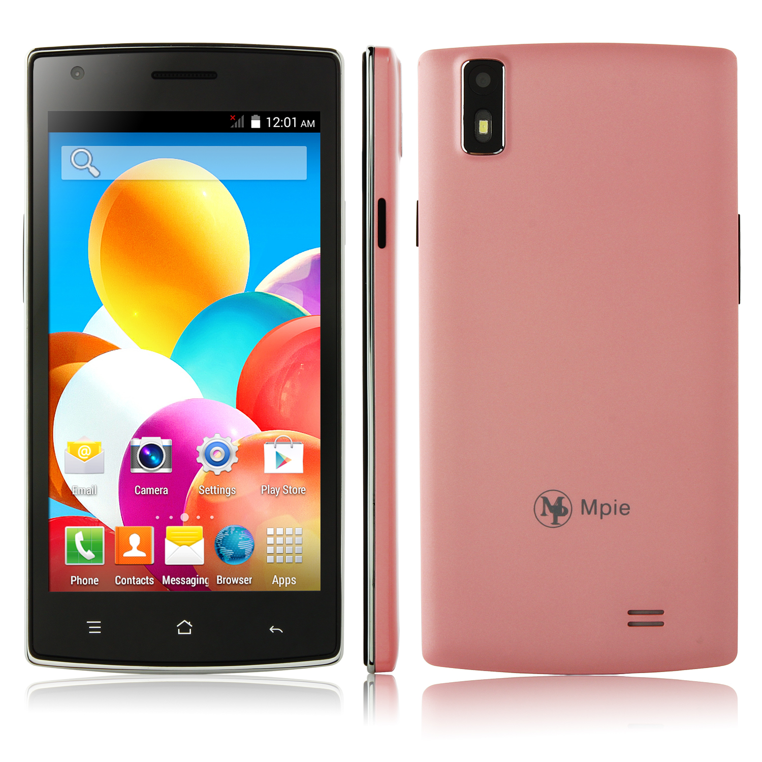 F1 Smartphone Android 4.4 MTK6572W Dual Core 5.0 Inch 3G Smart Wake Pink