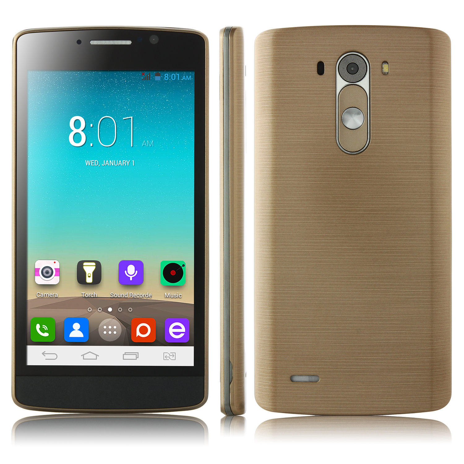 G3+ Smartphone Android 4.2 MTK6572W Dual Core 5.0 Inch 3G Smart Wake Up Golden
