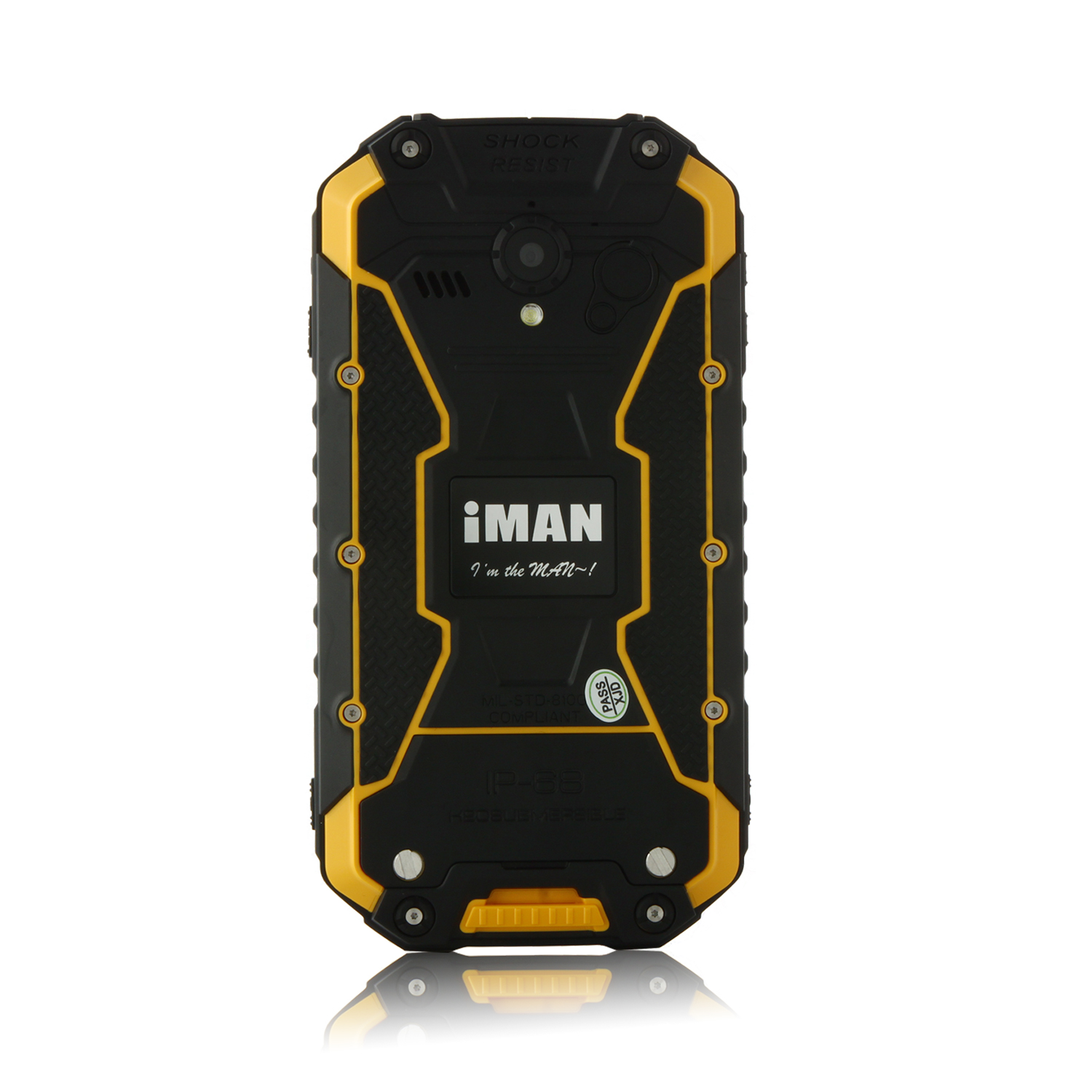 iMAN i6 Walkie Talkie Smartphone IP68 Android 4.4 MTK6592 4.7 Inch 2GB 32GB NFC Yellow