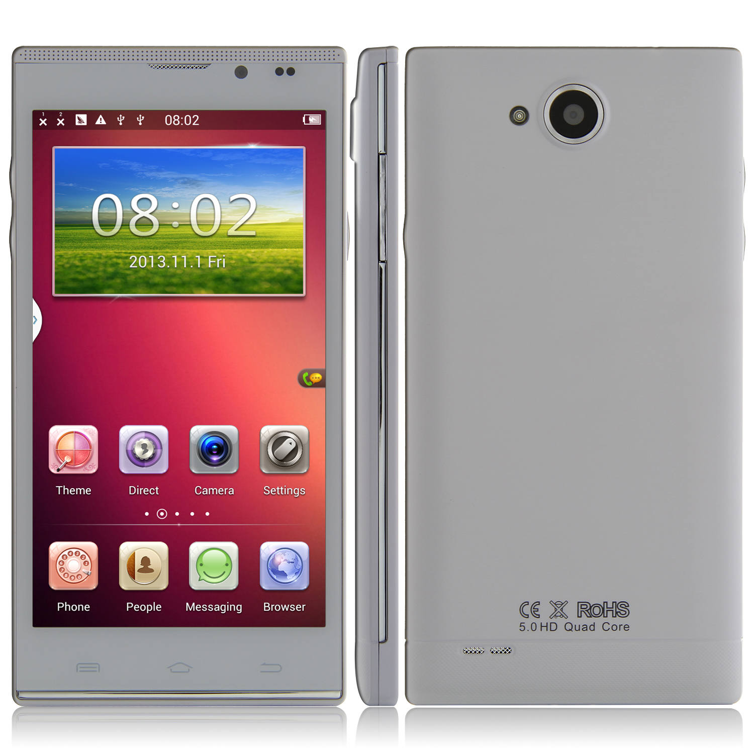 Tengda Q5000 Smartphone MTK6582 Android 4.2 1GB 8GB 5.0 Inch HD Screen 3G GPS White