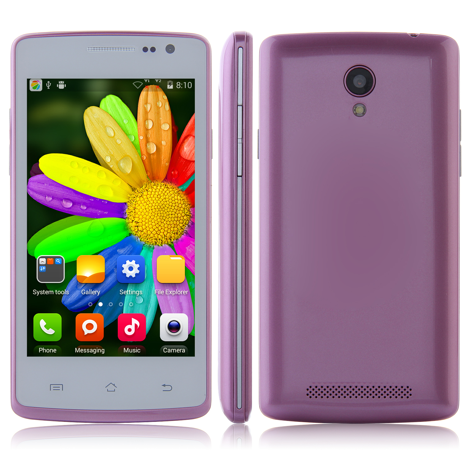 S2 Smartphone Android 4.4 SC7715 4.1 inch 3G GPS Purple