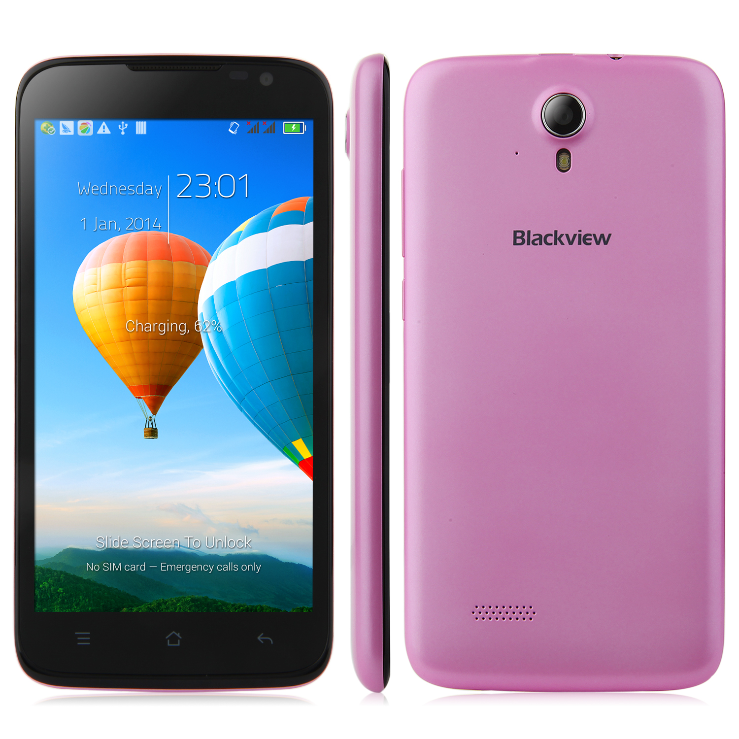 BlackView Zeta V16 Smartphone 5.0 Inch HD MTK6592M Octa Core Android 4.4 1GB 8GB Pink