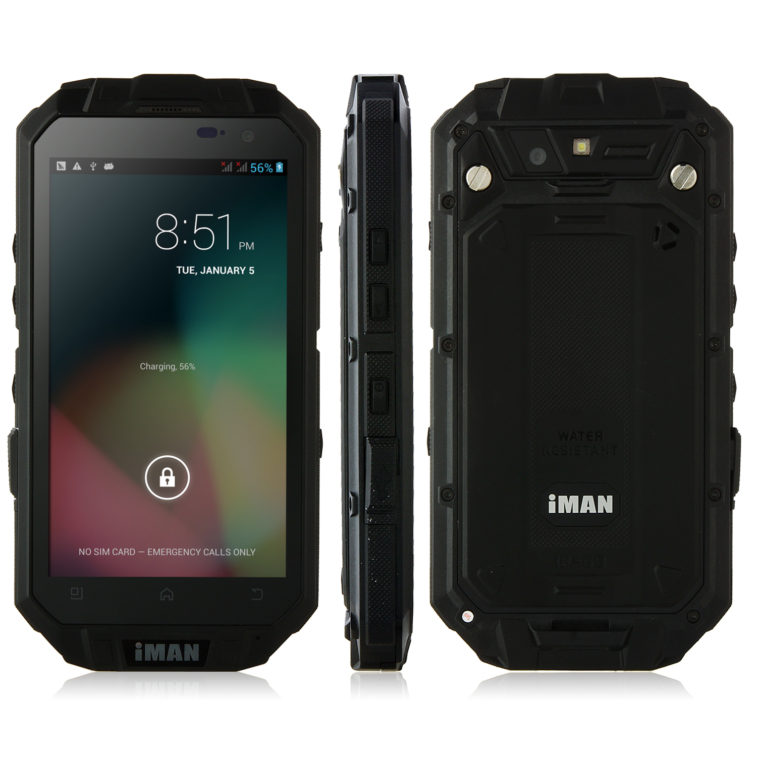 iMAN i3 Smartphone IP68 Android 4.2 MTK6589T 1GB 16GB 4.3 Inch QHD IPS Screen Black