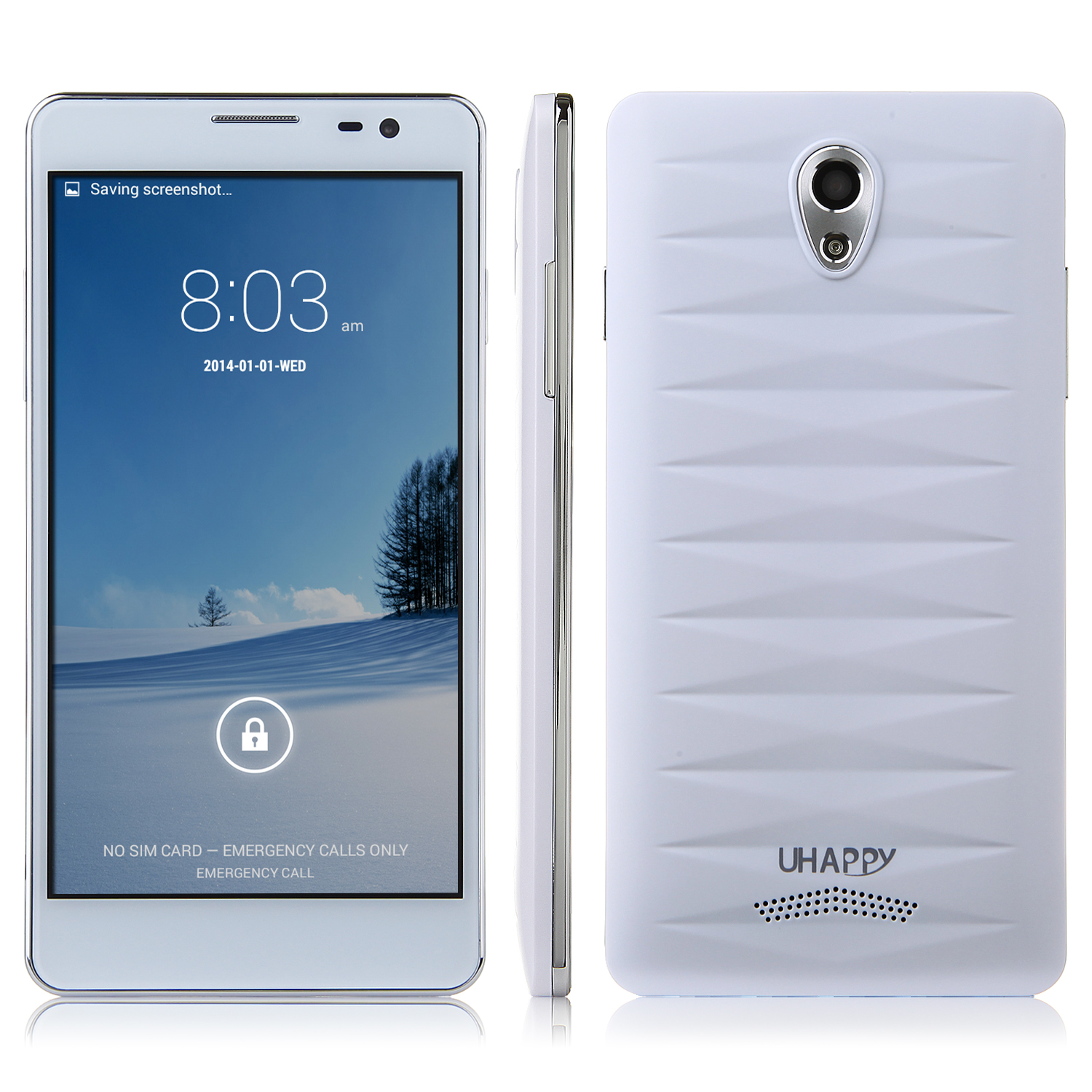 UHAPPY UP520 Smartphone 1GB 8GB Android 4.4 MTK6582 5.0 Inch QHD Screen OTG White
