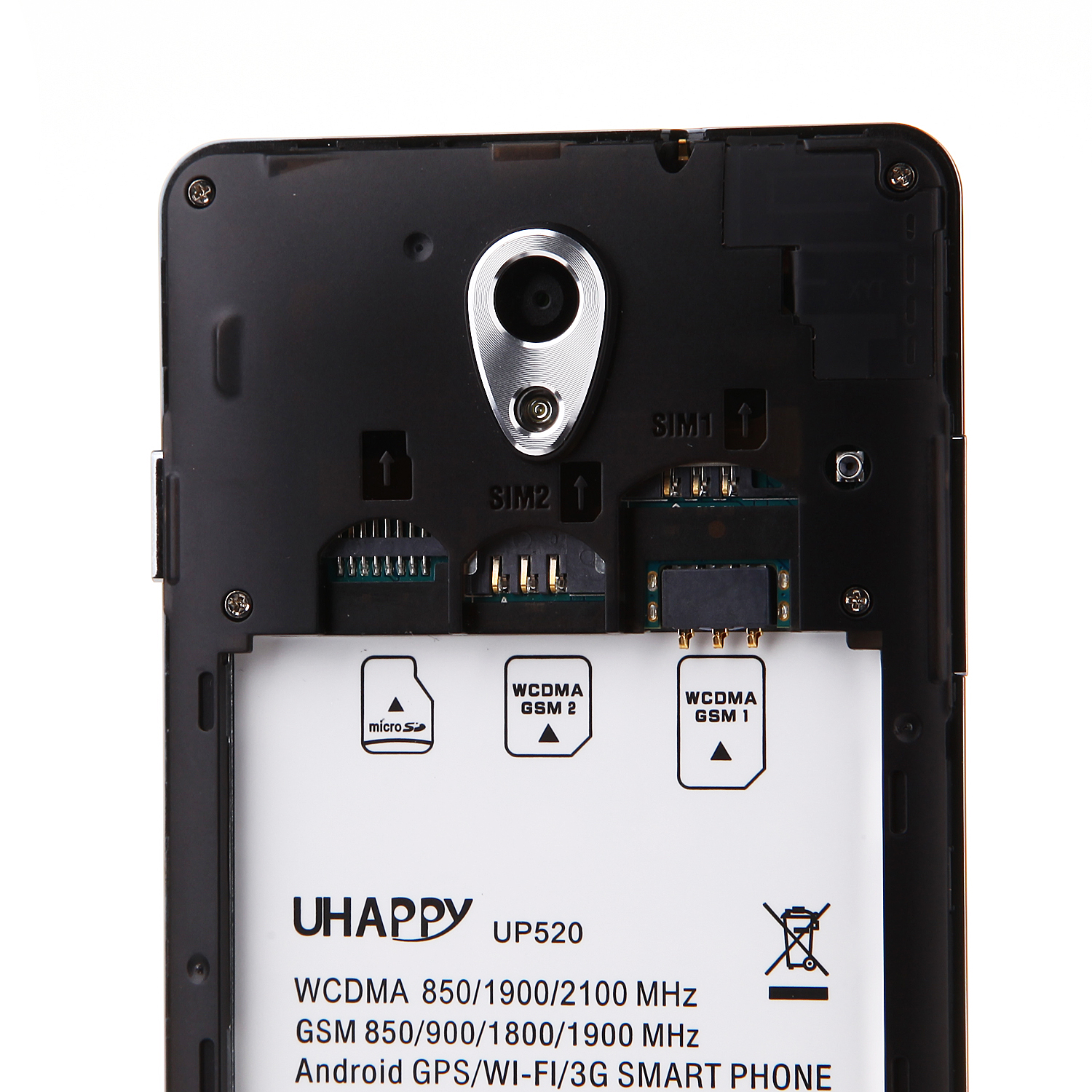 UHAPPY UP520 Smartphone 1GB 8GB Android 4.4 MTK6582 5.0 Inch QHD Screen OTG Black