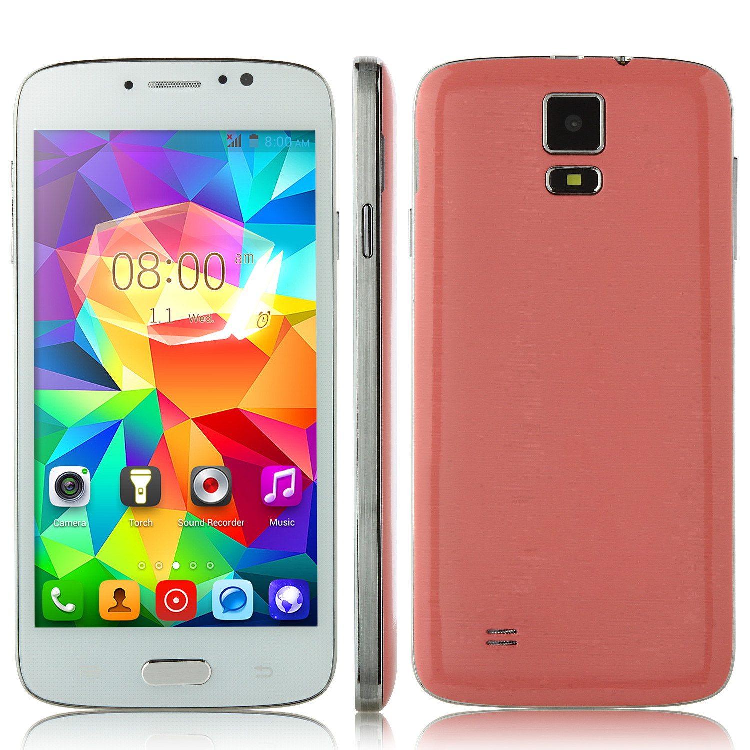 F-G906+ Smartphone Android 4.2 MTK6572W 5.0 Inch 3G GPS Pink