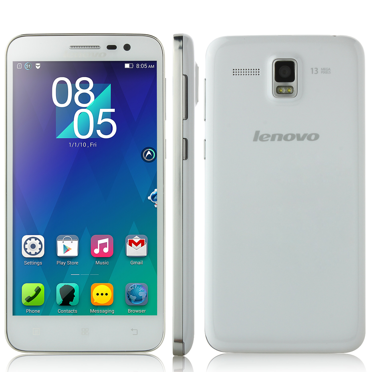 Lenovo A808T 4G TD-LTE Smartphone Android 4.4 MTK6592 5.0 Inch HD Screen - White