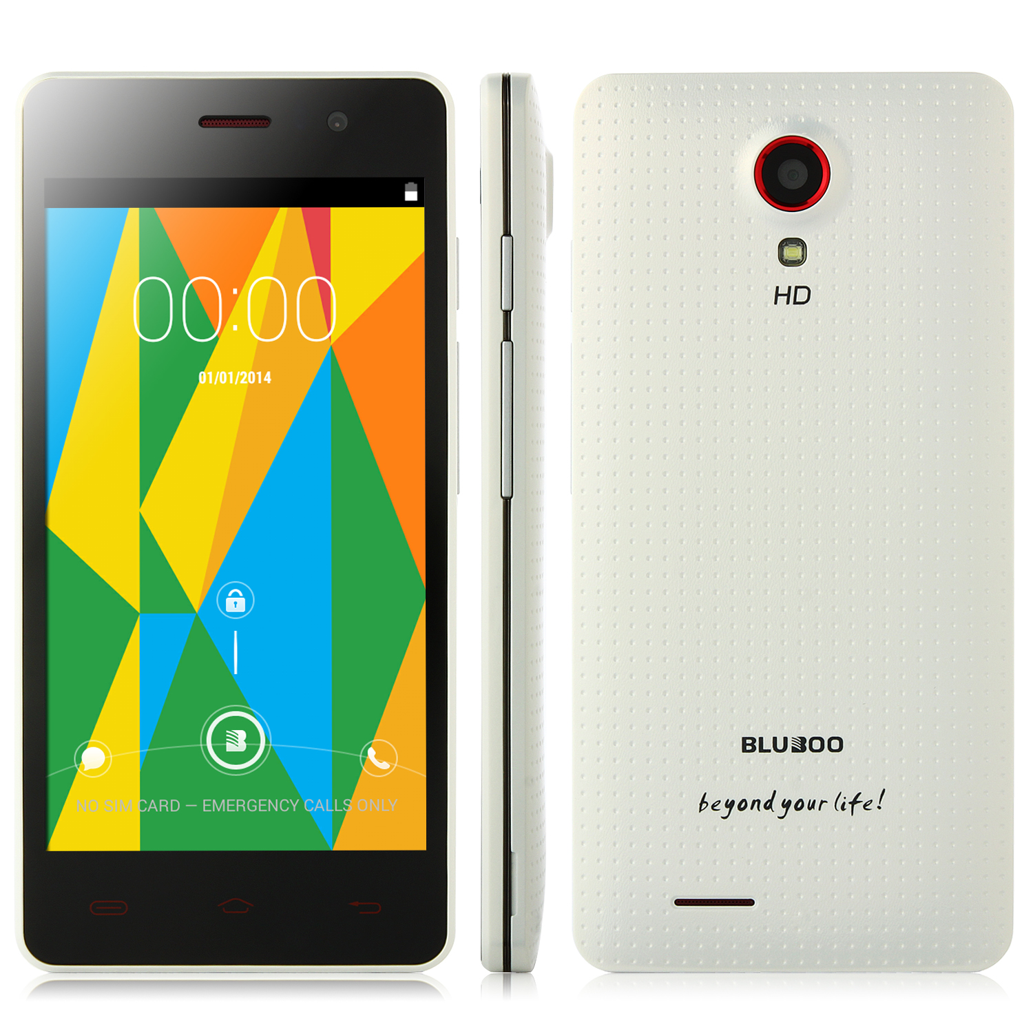 BLUBOO X3 Smartphone Android 4.4 MTK6582 4.5 Inch IPS Screen 3G GPS White