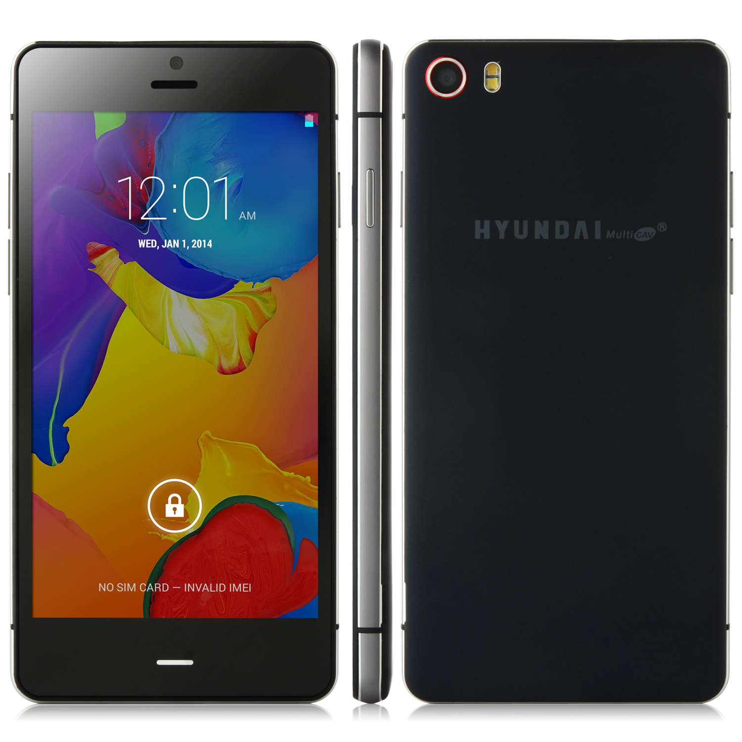 HYUNDAI Q5 Smartphone Android 4.4 MTK6582 Quad Core 5.0 Inch HD Screen Black