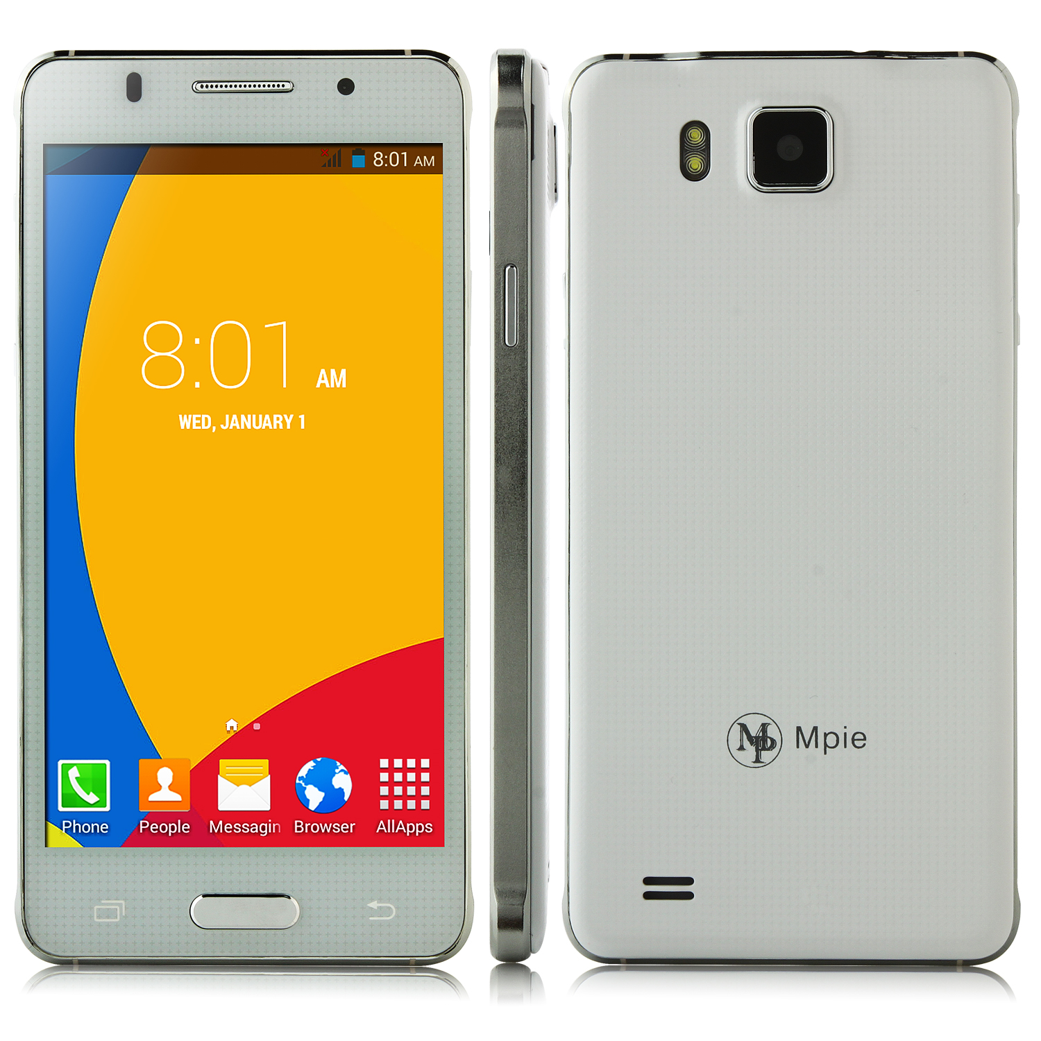 MP S168 Smartphone Android 4.4 MTK6572W 5.0 Inch Smart Wake White
