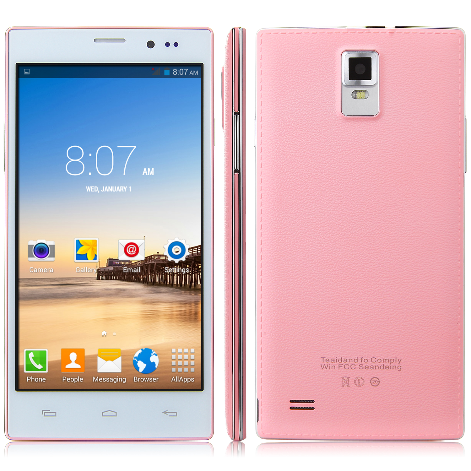 Tengda N907 Smartphone Android 4.4 MTK6572W 5.5 Inch QHD Screen Smart Wake Pink