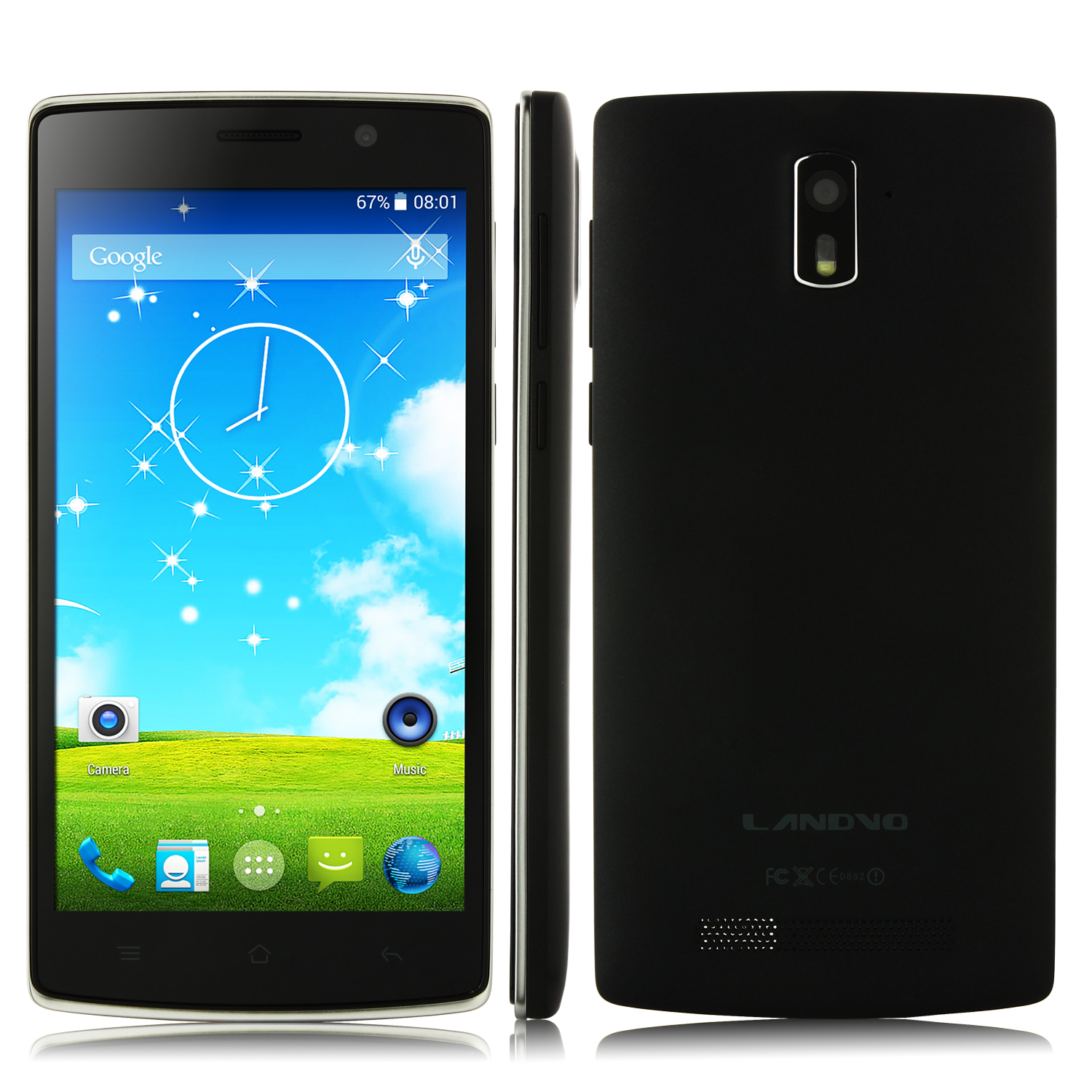 LANDVO L200S Smartphone 4G LTE Android 4.4 MTK6582 Quad Core 5.0 Inch HD Screen Black